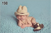 3pcs Topper Hat Shoes Cowboy Casual Elf Halloween Christmas Clothes Baby Set Toddlers Handmade Newborn Infant
