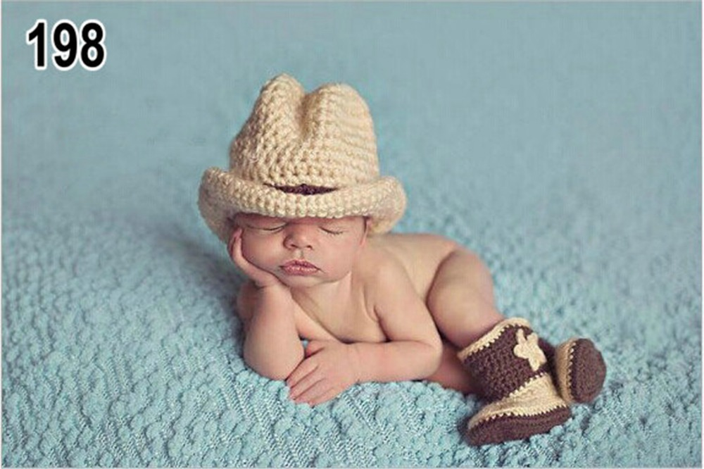 3pcs topper hat+shoes cowboy casual elf Halloween Christmas Clothes baby set Toddlers handmade newborn infant photography