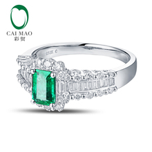 New Arrival 14K White Gold 0.68ct 4x6mm Emerald Pave Diamond Engagement Ring Free shipping
