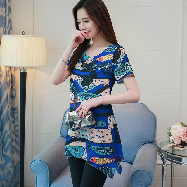 New Fashion Woman Blouses Shirts 2018 Summer Chiffon Vintage Plus Size Floral Printed Casual Ladies Tops Female 4XL 0747 30