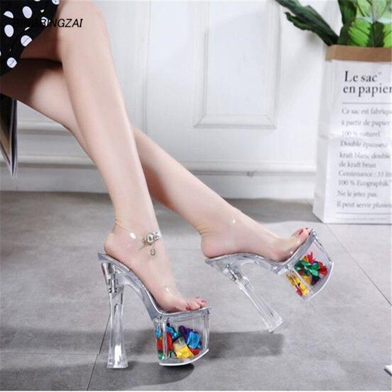 ladies shoes 18CM Thin Heels Square heel Crystal sandals Casual Party transparent Platform Pumps Peep Toe Buckle Shoes Lady Plus