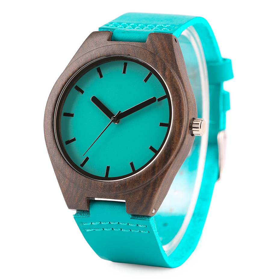 Fashion Blue Wood Quartz Watch Analog Genuine Leather Band Handmade Bamboo Wooden Wristwatch for Men Women Creative Gift Sport Clock (8)