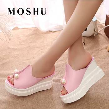 Designer Women Summer Sandals Thick Heel Platform Wedges Sexy Beading Slippers  online shopping in pakistan with free home delivery