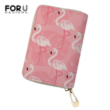 FORUDESIGNS Women Business PU Card Holder Flamingo Printing Pattern Girls Money Purses Bags Fashion Cluth Travel Wallets