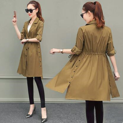Trench   Coat for Women 2018 Casual Slim Single Breasted Coat Women Long Dark Green Overcoat Manteau Femme Plus Size 3XL