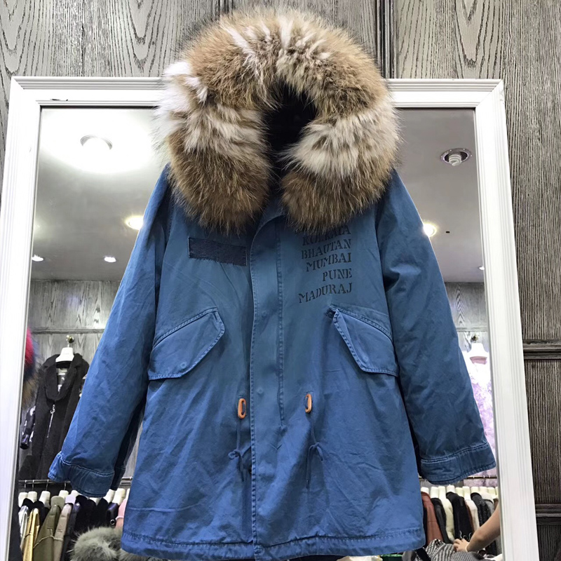 2018 New Women Luxurious Large Raccoon Fur Collar Hooded Coat Warm Real Mink Fur Liner Parkas Long Winter Jacket Top Quality