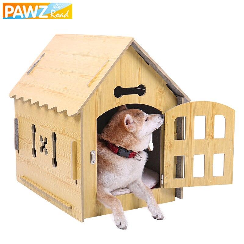 PAWZ Road animal de compagnie maison chat chien lapin Durable détachable facile à instruire respirant intérieur animal de compagnie bois maison chenil animal de compagnie produit