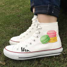 Wen Sneakers Colors White Black Female Design Colored Macarons Bun Dessert Food Skateboard Shoes Canvas High Top Flat Male Shoes