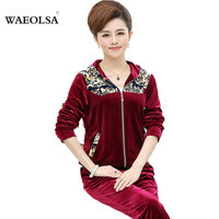 Women Velour Leisure Suit For Middle Aged Woman Hooded Zipper Jacket and Pant Suit Sweat Set Blue Red Purple Tracksuit Plus Size