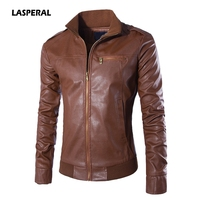 LASPERAL Men S Leather Jackets Men Stand Collar Coats Casual Slim Brand Zippers Leather Jackets Dress