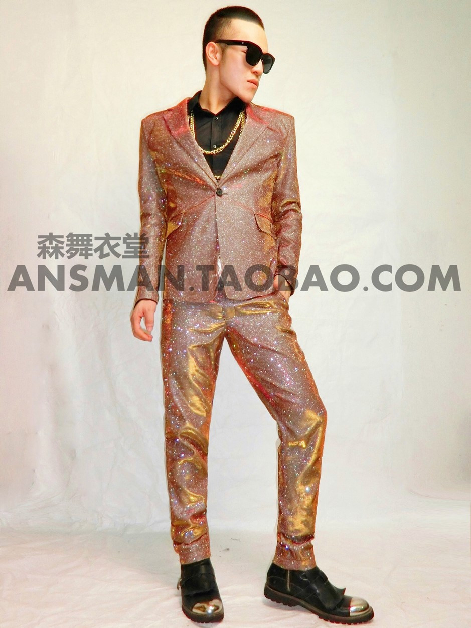 New mens champagne gold suit dress night wear singer dancer stage wear party show