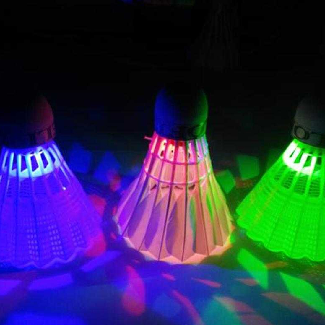 New 4Pcs Colorful LED Badminton Shuttlecock Ball Feather Glow In Night Outdoor Entertainment Sport Accessories(China)