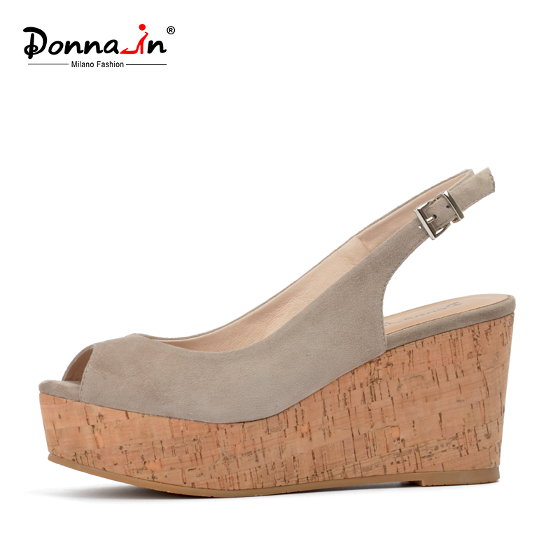 Donna-in kid suede genuine leather women sandals platform open toe shoes natural wood wedge heels ladies sandals qmn women crystal embellished natural suede brogue shoes women square toe platform oxfords shoes woman genuine leather flats