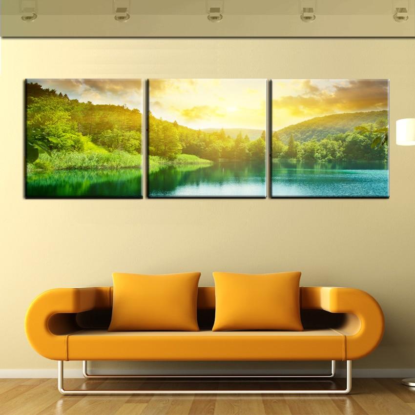 3 Panel Canvas Print Oil Painting Green Landscape Sunrise Lake View ...