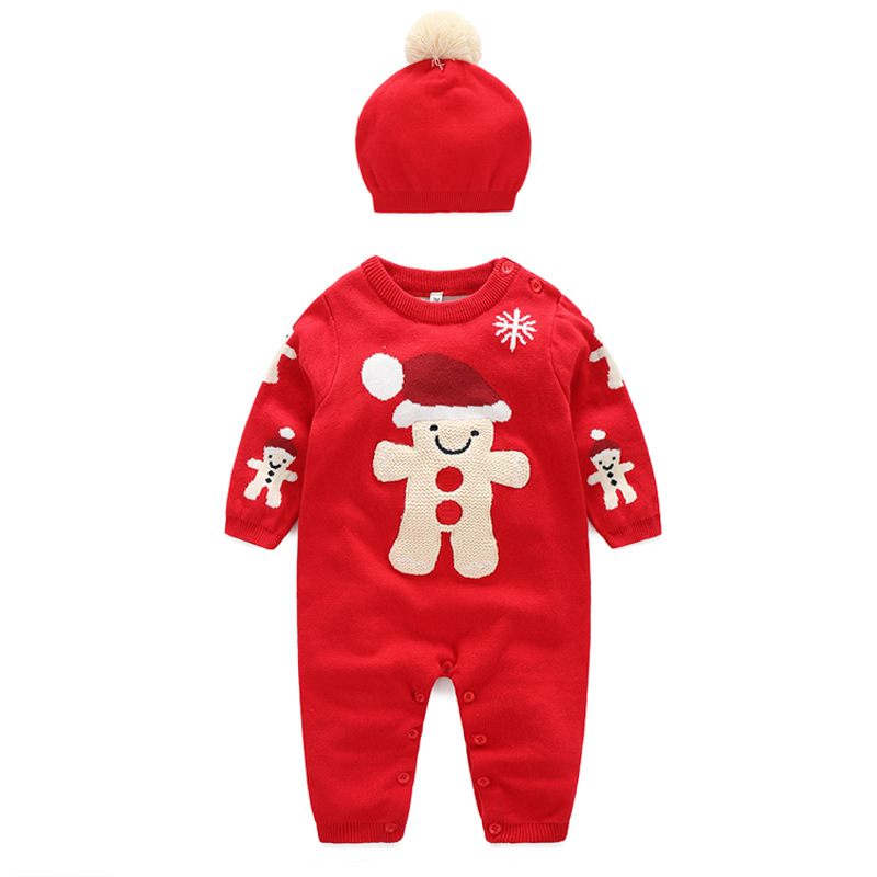 Baby Clothes Set Baby Girl Snowman Knitted Romper with Hat for Autumn Winter  Infant Christmas Jumpsuit Newborn Sweater Costume newborn baby photography props infant knit crochet costume peacock photo prop costume headband hat clothes set baby shower gift