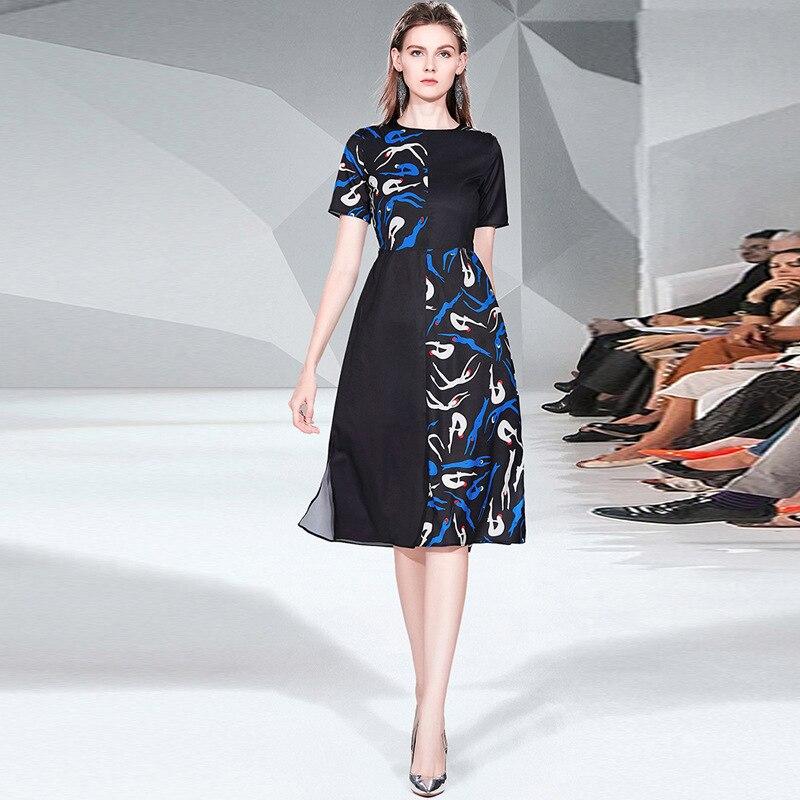 Europe et amérique femmes robe élégante Chic OL a-ligne robe 2019 été pistes tout nouveau design robe A630