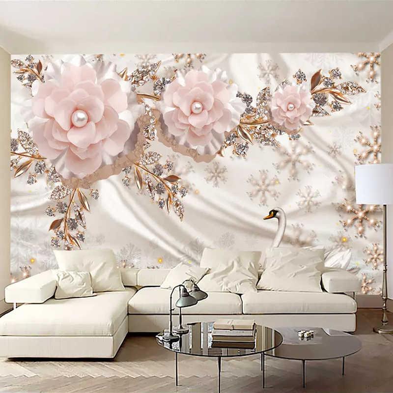 Sob encomenda Da Foto Papel De Parede 3D Swan Jóias Flores de Luxo em Estilo Europeu Sala de estar Decoração Mural Papel De Parede TV Fundo Da Parede