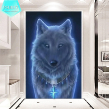 PSHINY 5D DIY Diamond embroidery sale wolf animal pictures complete Round rhinestones Painting new arrivals
