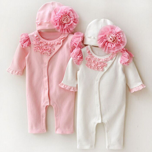 New Fashion Baby Girls Rompers Lace Flowers Decorate Bodysuits