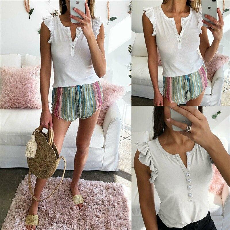 Fashion new womens shirt V-neck ruffled lace button white Slim casual T-shirt