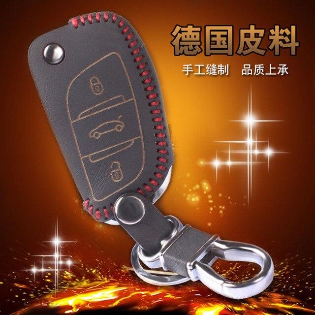 Genuine Leather Car Key Wallet For Citroen C5 C4L Leather Keychains 3 Button Leather Car Wallet Key Bag For Citroen C5 C4L C4