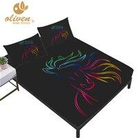 Colorful Horse Sheet Set Sparkling Animal Design Deep Pocket Fitted Sheet Bed Linens Flat Sheet Kids Bedding Set Pillowcase