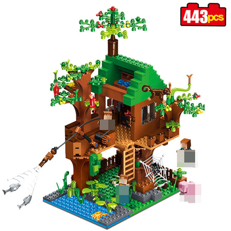Minecrafted 406pcs Classic Tree House My world Model Figures Building Blocks Bricks Kids Educational Toys For Children Gift 12pcs set children kids toys gift mini figures toys little pet animal cat dog lps action figures