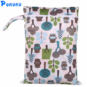 Diaper Wet Bag Baby Waterproof Cloth Diaper Bag PUL Pocket Zipper Print Reusable Baby Nappy Wet Bag 30x40cm