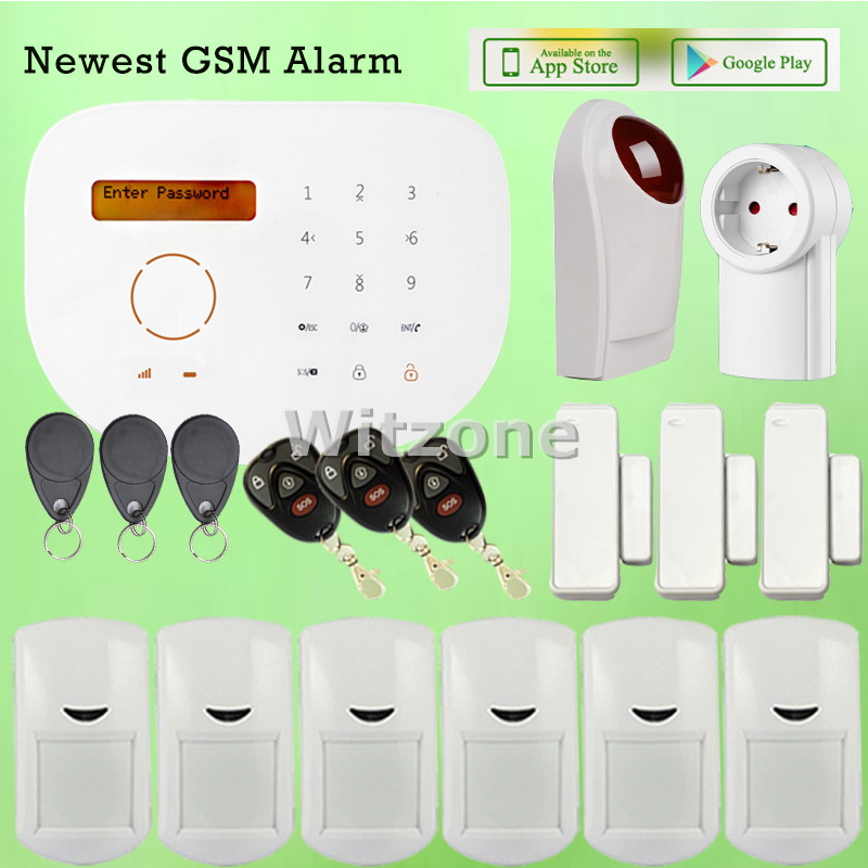 DIY GSM Alarm Package APP Controlled Wireless Wired GSM Intruder Alarm System with Outdoor Flash Siren Horn and Relay Output high quality solar spot alarm system kit 433mhz wireless outdoor siren with bright flash to make powerful warning