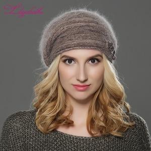 Image 3 - LILIYABAIHE ใหม่ฤดูหนาวผู้หญิง Beret หมวกถักหมวก Angora Beret Patchwork Stylish Trendy หมวกตกแต่งหมวกคู่หมวก