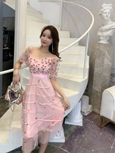2019 summer Korean mesh embroidery flower stitching strap dress Ankle-Length  Zippers V-Neck Sheath