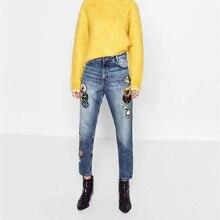 Осень зима мода аппликации Ретро синие джинсы женщина случайные карандаш брюки женские джинсы femme карманы