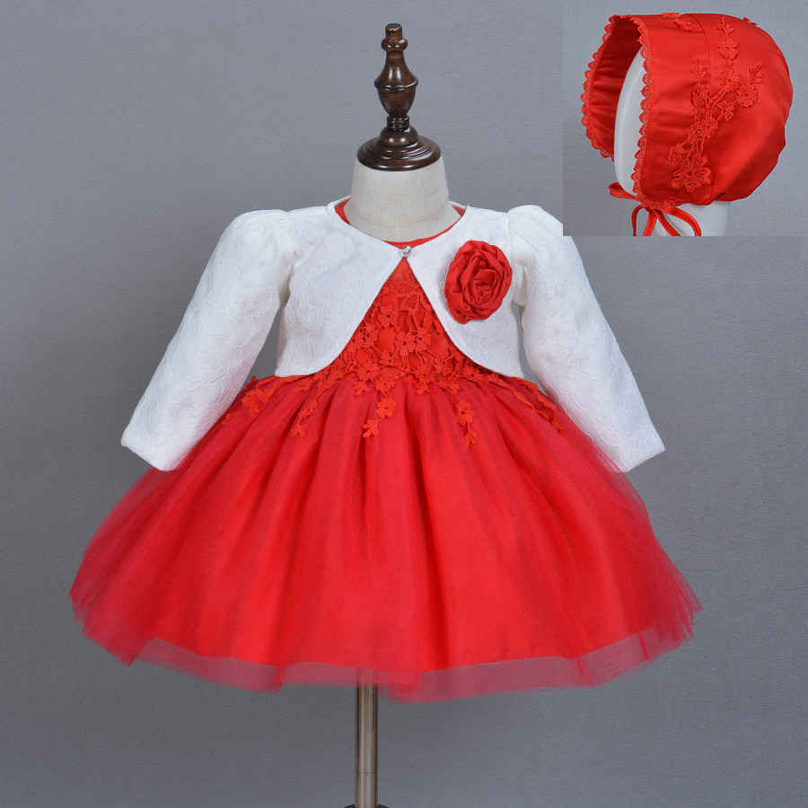 0-2T Baby Girls Flower Princess Dress 3 Piece Sets Baptism Dress with Hat and Blazer Coats 2016 Autumn New First Communion Gowns