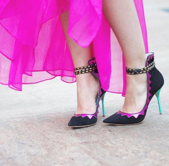 Sexy Pointed Toe Ankle Buckles Ladies Dress Shoe Purple Color Laser Leather Patchwork Women Black Suede Leather Pumps Party Shoe black suede laser cutout midi skirt