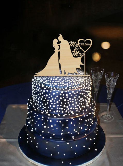 Wedding Cake Topper Bride and Batman Special Date with Heart Design