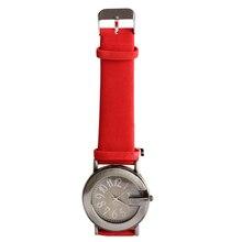 Moda Feminina Ladies Casual Relógio de Quartzo Rodada Pulseira De Couro Vermelho relógio de Pulso