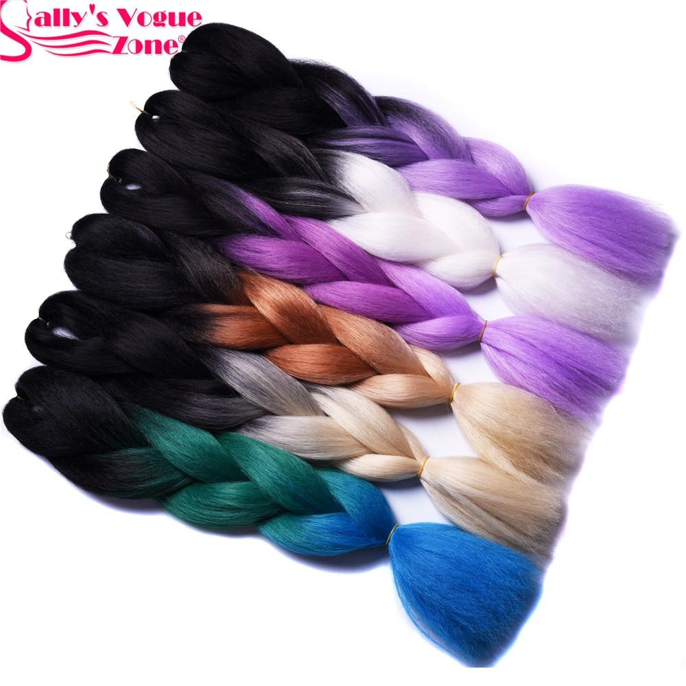 Джамбо коси Омбре плетіння волосся 2 3тони чорний коричневий рожевий колір Sallyhair 24inch висока температура волокна синтетичних волосся нарощування  t