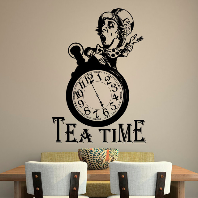 Alice in Wonderland Wall Decal Quote Tea Time Quotes Wall Stickers Mad  Hatter Tea Party Stickers