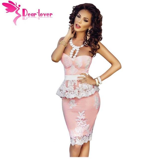 Дорогой Любовник Roupas Femininas Элегантный Бальные Платья Цветочные Кружева Крючком Обнаженная Иллюзия Розовый Баски Платье Vestidos де Феста LC61201