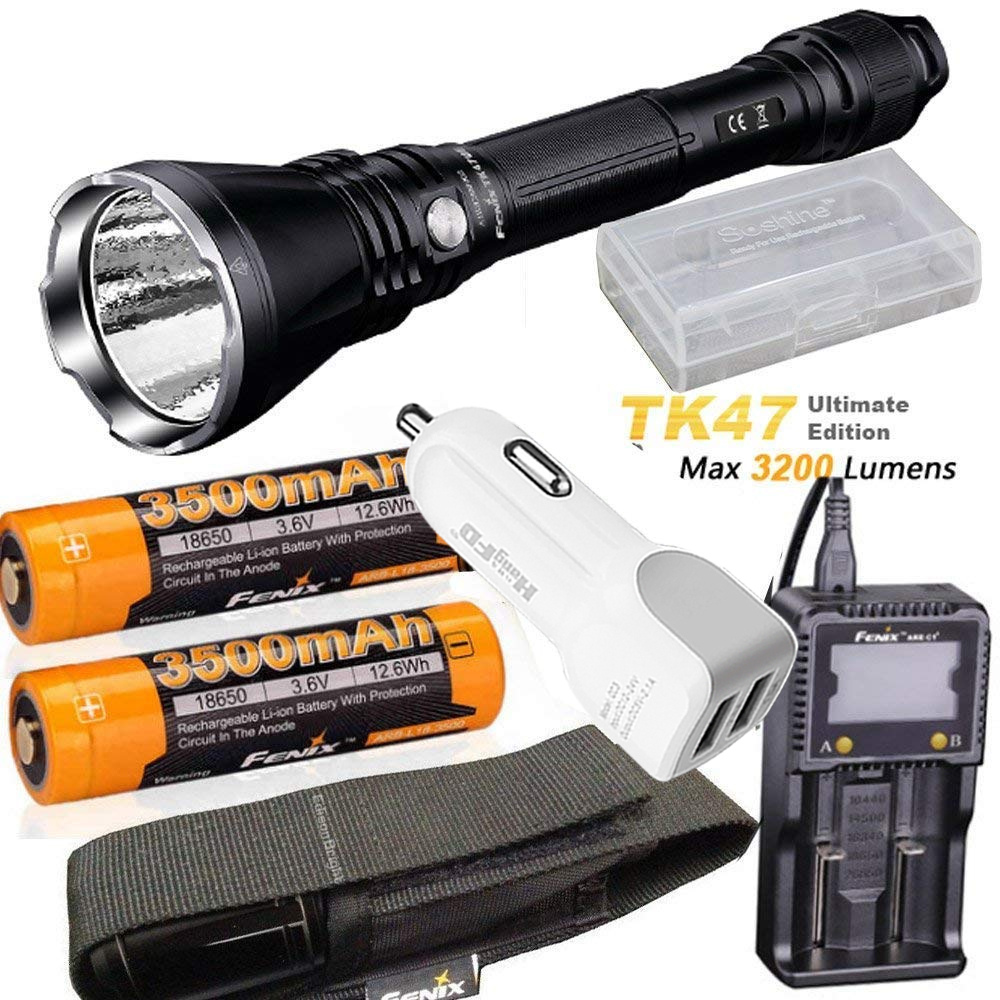 Fenix TK47 UE Ultimate Edition 3200 Lumen LED Tactical Flashlight with ARB-L18-3500 battery, ARE-C1+ charger, car charger fenix hp25r 1000 lumen headlamp rechargeable led flashlight