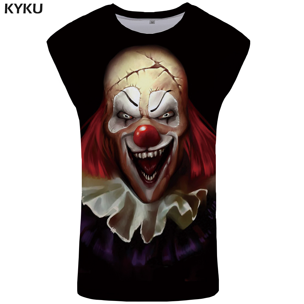 KYKU Clown   Tank     Top   Men Black Mens Bodybuilding Ghost Undershirt Knife Singlet Vest Ftness Clothing Sleeveless Shirt 2018