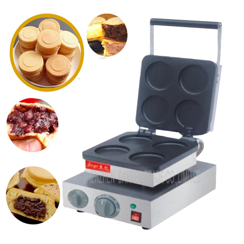 1PC FY-4H  Electric 4 hole red cake grill Layer cake machine Red bean cake one time for 4pcs waffle machine 1pc fy 2233b r gas type 16 hole aluminum plate layer cake machine pattern in bottom board red bean machine