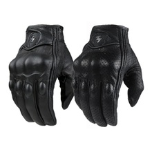 Motorcycle Gloves Outdoor Sports Full Finger Motorcycle Riding Protective Armor Black Short Leather Gloves gym For Men For Women