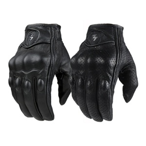 Image 1 - Motorcycle Gloves Outdoor Sports Full Finger Motorcycle Riding Protective Armor Black Short Leather Gloves gym For Men For Women