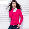 Thin Womens Wool Sweater 2016 New Fashion Top Long Sleeve O-neck Rose Red Winter Sweater Women Young Ladies Pullover School Girl