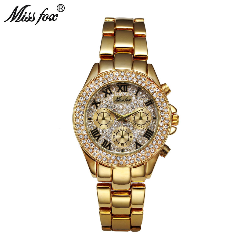 MISSFOX Fashion Women Watches Quartz 2020 Steel Buckle Waterproof Top Brand Luxury 18K Gold Ladies Wrist Watches For Girls Gift