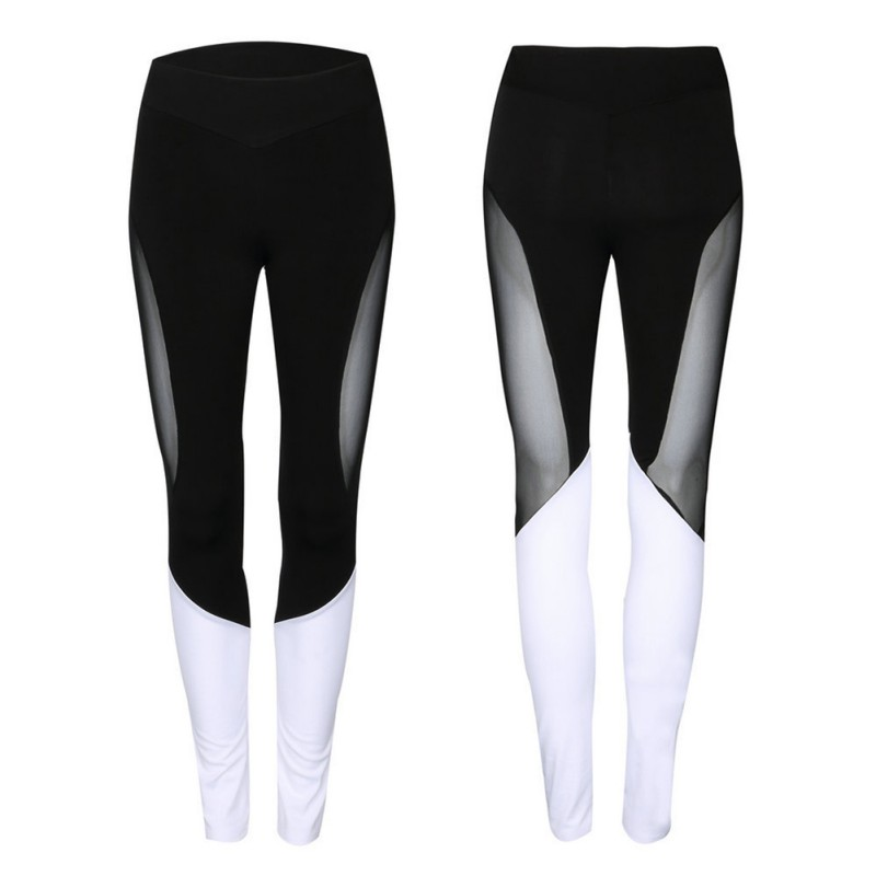 New 2018 Femela Yoga Breathable Stretch Compression Fitness Tights Pants Women's Sports Irregular Thread Splicing Pants bthi