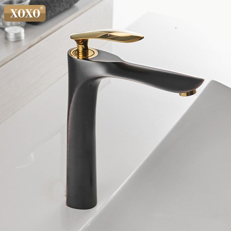 XOXO robinets de bassin froid et chaud mitigeur monotrou noir blanc or mitigeur pour salle de bains robinets évier 20055-1 - 2