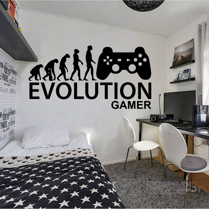 Gamer Ps4 wall decal Eat Game wall decal Controller video game wall decals Customized For Kids Bedroom Vinyl Wall Art A1-015 image