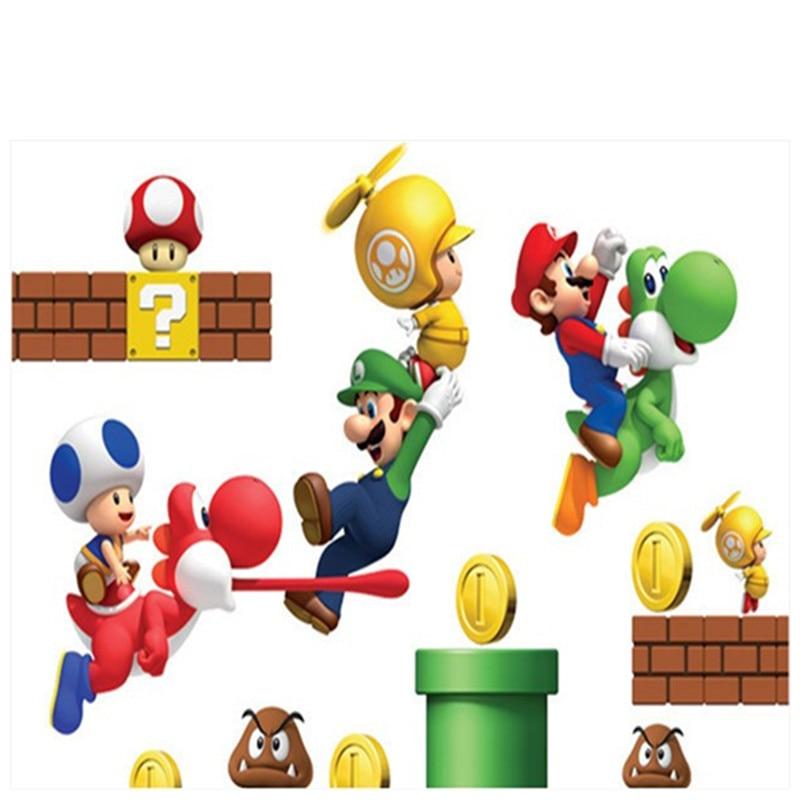 Decorazioni per la Camera dei Bambini Anime Poster Super Divertente Mario Bros Adesivi murali creativi a Parete Rotta Bella Carta da Parati del Fumetto 1 30x50cm